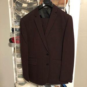 Express Burgundy Slim-Fit Suit